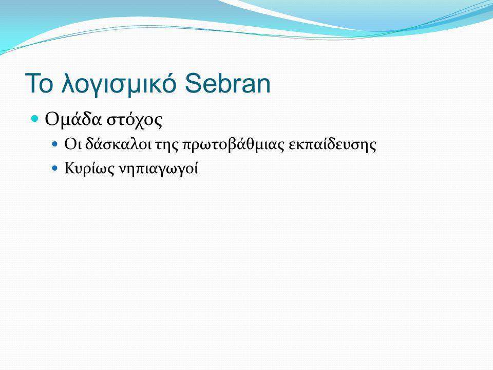 Τι είναι το Sebran (1/2) Εκπαιδευτικό λογισμικό για παιδιά 2-7 ετών Δημιουργήθηκε από την Marianne Wartoft το 2006 Μεταφρασμένο σε περισσότερες από 30 γλώσσες