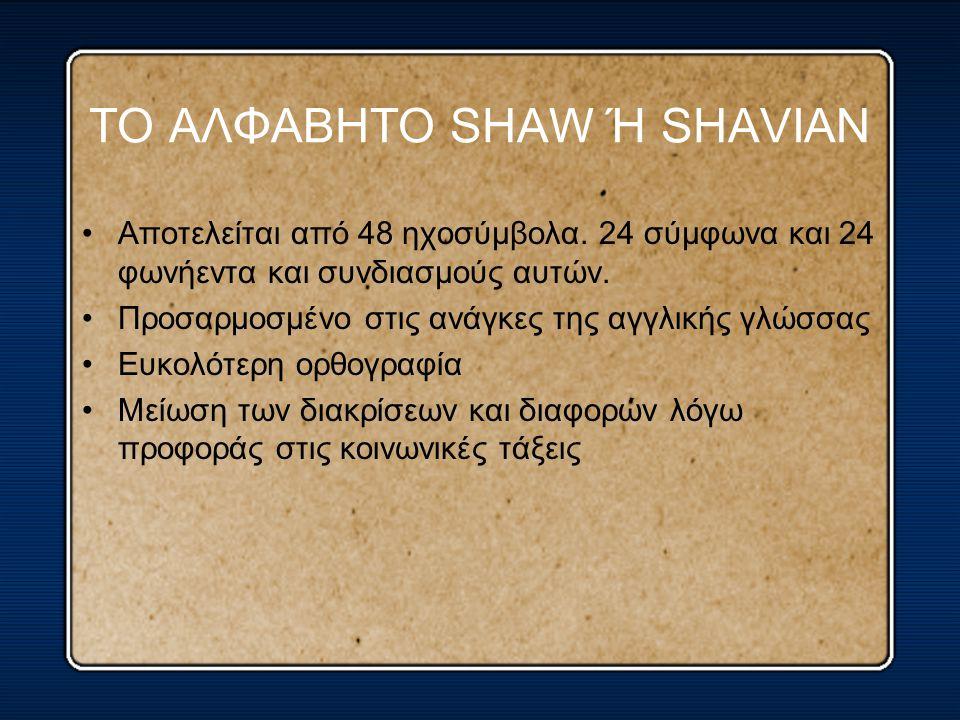 ΤΟ ΑΛΦΑΒΗΤΟ SHAW Ή SHAVIAN Αποτελείται από 48 ηχοσύμβολα. 24 σύμφωνα και 24 φωνήεντα και συνδιασμούς αυτών. Προσαρμοσμένο στις ανάγκες της αγγλικής γλ