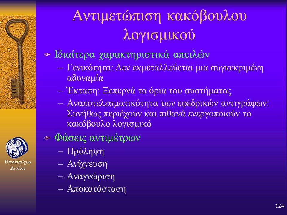 Πανεπιστήμιο Αιγαίου 123 Περιστατικό Internet Worm (2) F Γιατί; –Προσωπική ικανοποίηση, δοκιμή, απόκτηση δημοσιότητας F Τι συνέβη στον συγγραφέα; –Απο