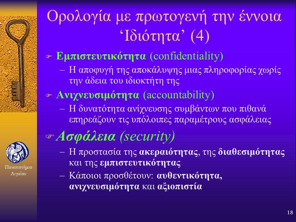 Πανεπιστήμιο Αιγαίου 17 Ορολογία με πρωτογενή την έννοια 'Ιδιότητα' (3) F Διαθεσιμότητα (availability) –Η αποφυγή της αδικαιολόγητης καθυστέρησης ενός