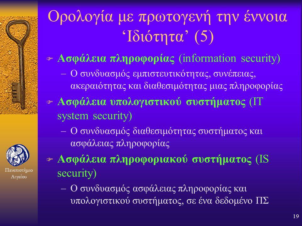 Πανεπιστήμιο Αιγαίου 18 Ορολογία με πρωτογενή την έννοια 'Ιδιότητα' (4) F Εμπιστευτικότητα (confidentiality) –Η αποφυγή της αποκάλυψης μιας πληροφορία