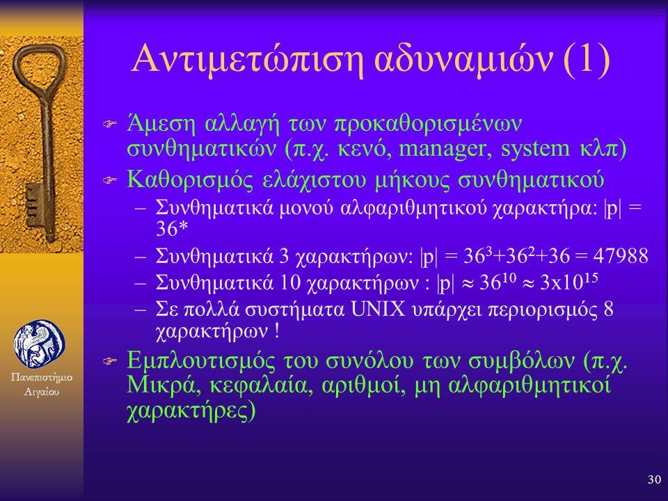 Πανεπιστήμιο Αιγαίου 29 Αδυναμίες των συνθηματικών F Εύκολη απομνημόνευση: –μαντεύονται (π.χ. γενέθλια, αριθμός αυτοκινήτου, όνομα σκύλου) F Δύσκολη α