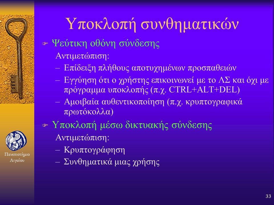 Πανεπιστήμιο Αιγαίου 32 Αντιμετώπιση αδυναμιών (3) F Αυτόματη δημιουργία συνθηματικών από το σύστημα. Όμως: –Δύσκολη απομνημόνευση –Είναι γνωστά στο σ