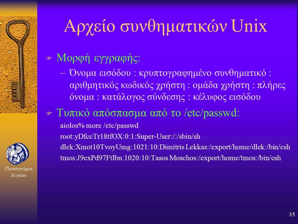 Πανεπιστήμιο Αιγαίου 34 Παραβίαση αρχείου συνθηματικών F Αποθήκευση σε κρυπτογραφημένη μορφή (π.χ. Στο Unix: /etc/passwd) F Έλεγχος πρόσβασης στο αρχε