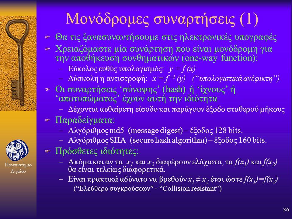 Πανεπιστήμιο Αιγαίου 35 Αρχείο συνθηματικών Unix F Μορφή εγγραφής: –Όνομα εισόδου : κρυπτογραφημένο συνθηματικό : αριθμητικός κωδικός χρήστη : ομάδα χ