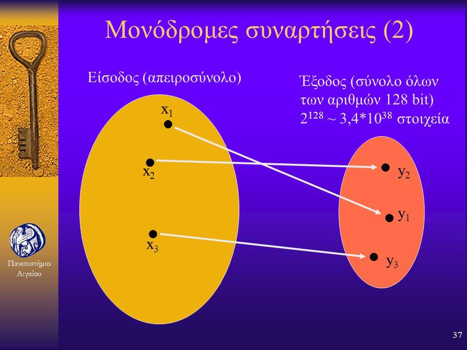 Πανεπιστήμιο Αιγαίου 36 Μονόδρομες συναρτήσεις (1) F Θα τις ξανασυναντήσουμε στις ηλεκτρονικές υπογραφές F Χρειαζόμαστε μία συνάρτηση που είναι μονόδρ