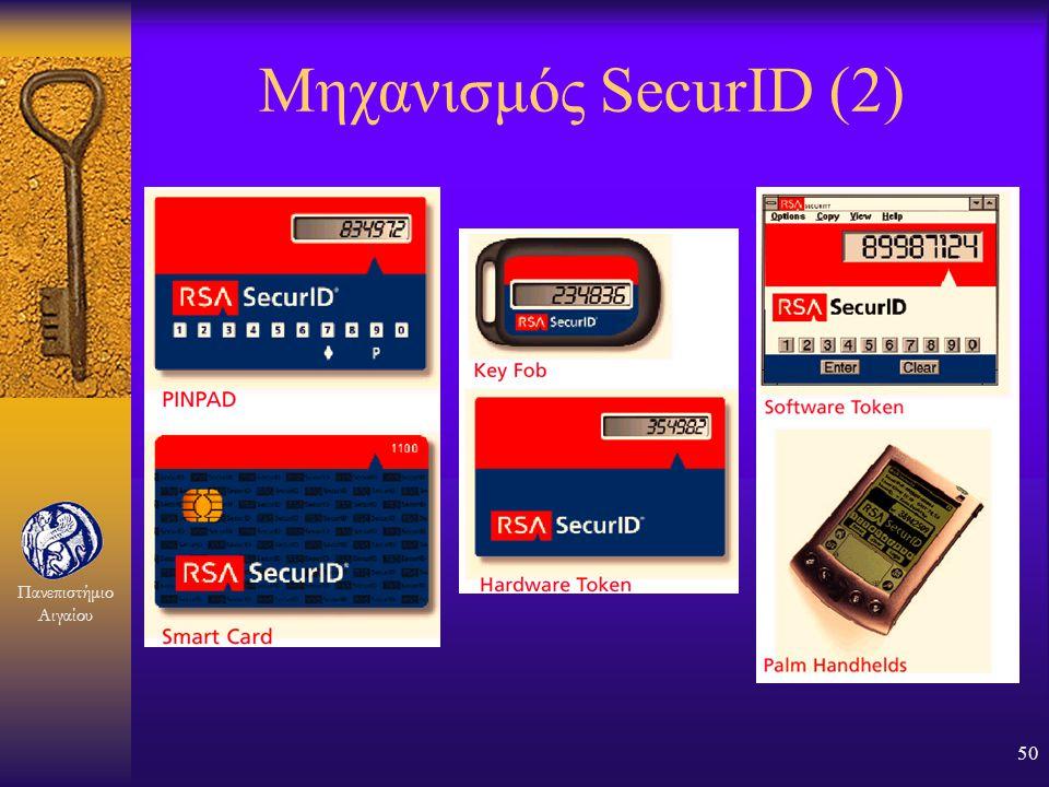 Πανεπιστήμιο Αιγαίου 49 Μηχανισμός SecurID (1) F Αυθεντικοποίηση δύο παραγόντων: –Γνώση συνθηματικού και –Κατοχή συσκευής F Δεν απαιτείται ειδικό υλικ