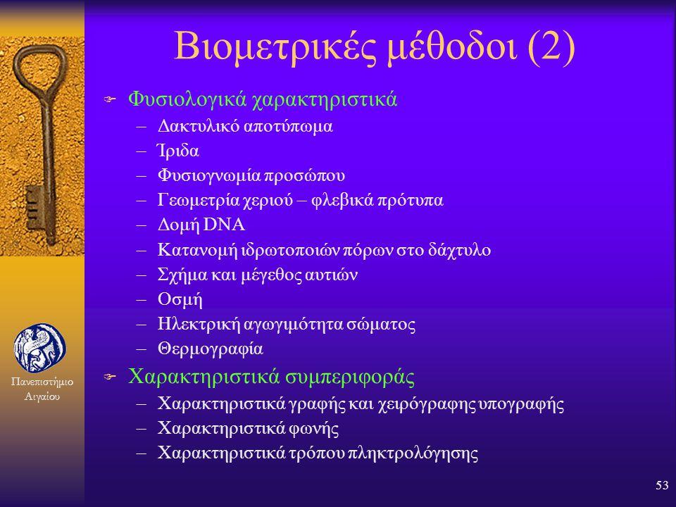 Πανεπιστήμιο Αιγαίου 52 Βιομετρικές μέθοδοι (1) F Μέτρηση ενός ανθρώπινου χαρακτηριστικού και σύγκριση με μία τιμή- πρότυπο που έχει προηγουμένως αποθ