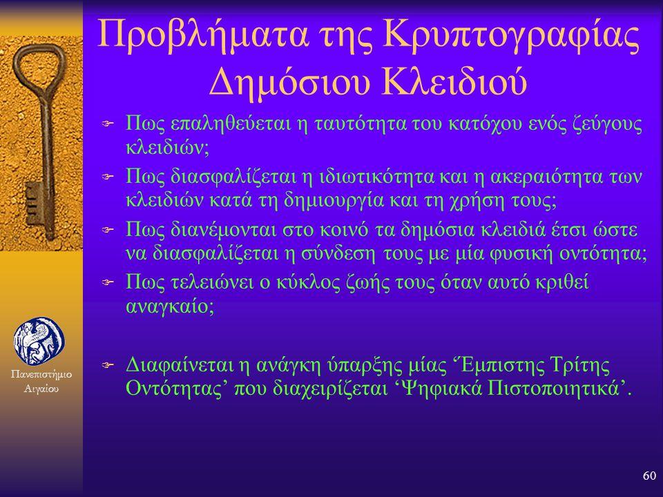 Πανεπιστήμιο Αιγαίου 59 Πλεονεκτήματα της Κρυπτογραφίας Δημόσιου Κλειδιού F Τα δημόσια κλειδιά δεν χρήζουν προστασίας F Τα ιδιωτικά κλειδιά δεν γνωρίζ
