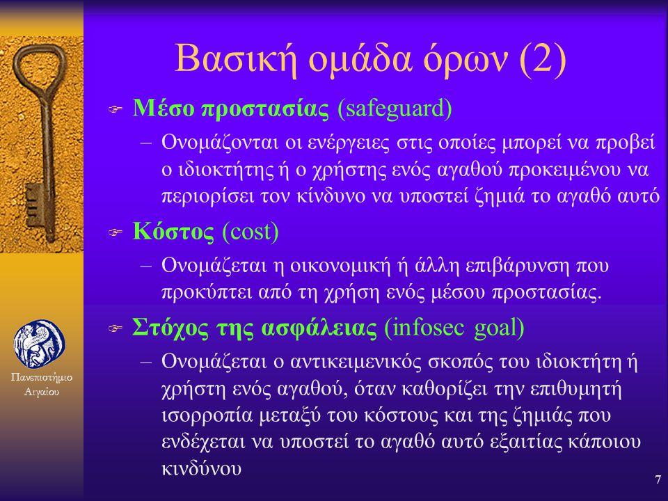 Πανεπιστήμιο Αιγαίου 6 Βασική ομάδα όρων (1) F Αγαθό (asset) –ονομάζεται κάτι το οποίο αξίζει να προστατευθεί F Ζημιά (harm-damage) –ονομάζεται ο περι