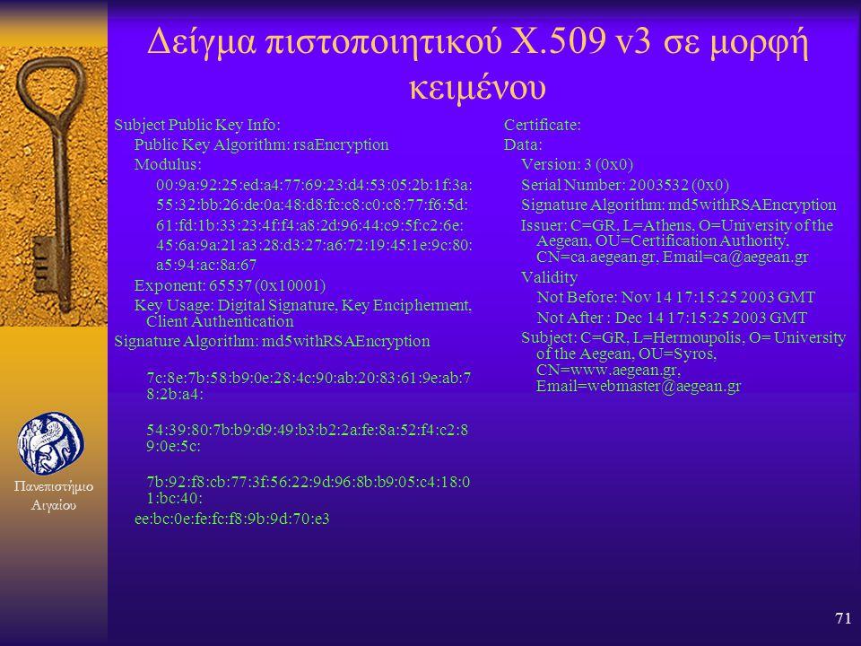Πανεπιστήμιο Αιγαίου 70 Περιεχόμενα ενός πιστοποιητικού F Ένα ψηφιακό πιστοποιητικό περιέχει τις παρακάτω βασικές ομάδες πεδίων: F Αναγνωριστικά πιστο