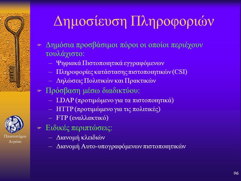 Πανεπιστήμιο Αιγαίου 95 Διαδρομή πιστοποίησης Issuer: Aegean Root Subject: Aegean Root Public Key: 92517 Valid from: 1 Jul 00 Valid to: 30 Jun 10 Sign