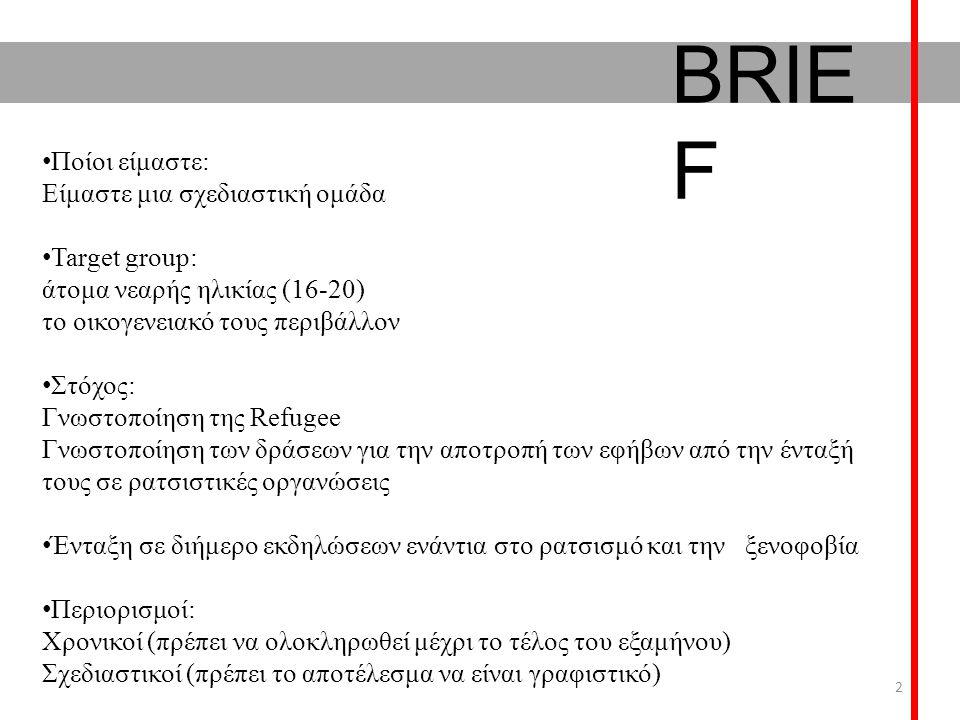BRIE F Ποίοι είμαστε: Είμαστε μια σχεδιαστική ομάδα Target group: άτομα νεαρής ηλικίας (16-20) το οικογενειακό τους περιβάλλον Στόχος: Γνωστοποίηση της Refugee Γνωστοποίηση των δράσεων για την αποτροπή των εφήβων από την ένταξή τους σε ρατσιστικές οργανώσεις Ένταξη σε διήμερο εκδηλώσεων ενάντια στο ρατσισμό και την ξενοφοβία Περιορισμοί: Χρονικοί (πρέπει να ολοκληρωθεί μέχρι το τέλος του εξαμήνου) Σχεδιαστικοί (πρέπει το αποτέλεσμα να είναι γραφιστικό) 2