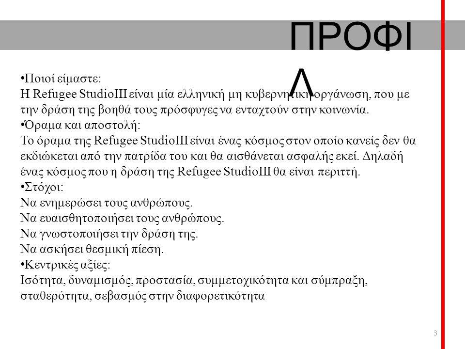 ΠΡΟΦΙ Λ Ποιοί είμαστε: Η Refugee StudioIII είναι μία ελληνική μη κυβερνητική οργάνωση, που με την δράση της βοηθά τους πρόσφυγες να ενταχτούν στην κοι