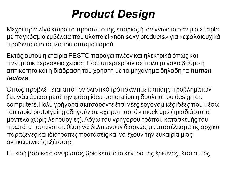 Product Design Μέχρι πριν λίγο καιρό το πρόσωπο της εταιρίας ήταν γνωστό σαν μια εταιρία με παγκόσμια εμβέλεια που υλοποιεί «non sexy products» για κεφαλαιουχικά προϊόντα στο τομέα του αυτοματισμού.