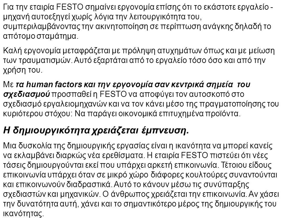 Για την εταιρία FESTO σημαίνει εργονομία επίσης ότι το εκάστοτε εργαλείο - μηχανή αυτοεξηγεί χωρίς λόγια την λειτουργικότητα του, συμπεριλαμβάνοντας την ακινητοποίηση σε περίπτωση ανάγκης δηλαδή το απότομο σταμάτημα.