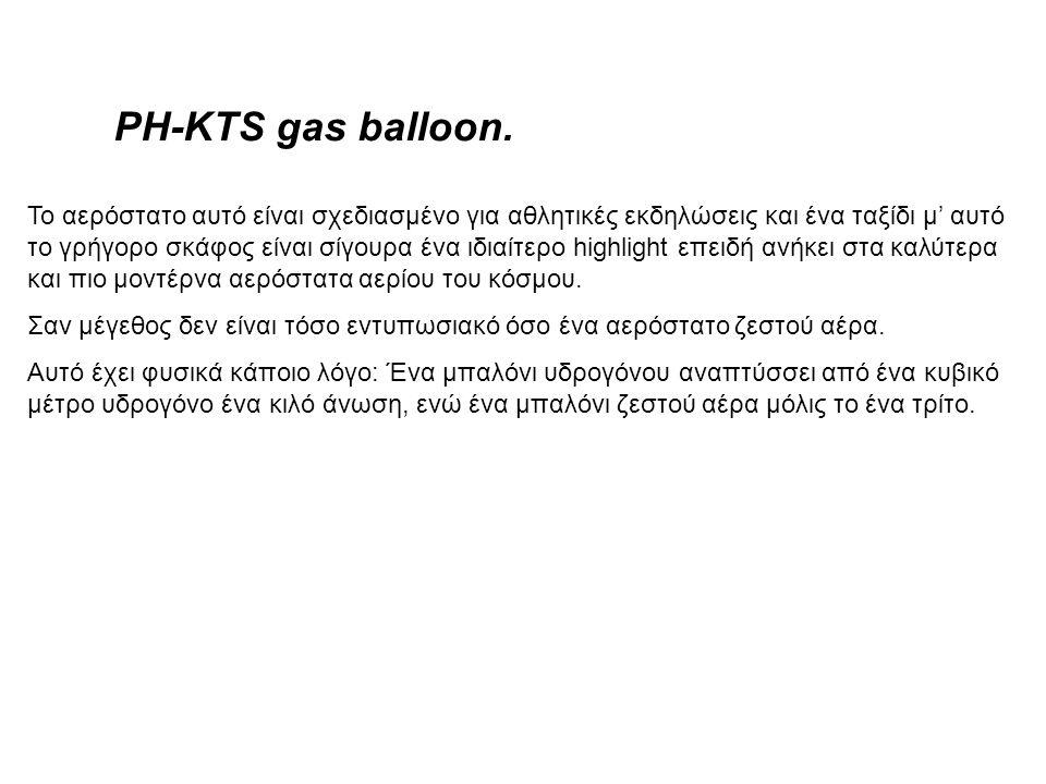 Το αερόστατο αυτό είναι σχεδιασμένο για αθλητικές εκδηλώσεις και ένα ταξίδι μ' αυτό το γρήγορο σκάφος είναι σίγουρα ένα ιδιαίτερο highlight επειδή ανήκει στα καλύτερα και πιο μοντέρνα αερόστατα αερίου του κόσμου.