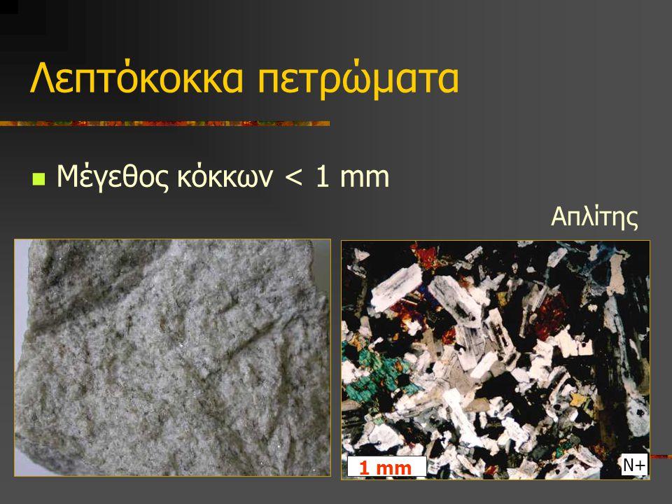 Λεπτόκοκκα πετρώματα Μέγεθος κόκκων < 1 mm Απλίτης 1 mm Ν+