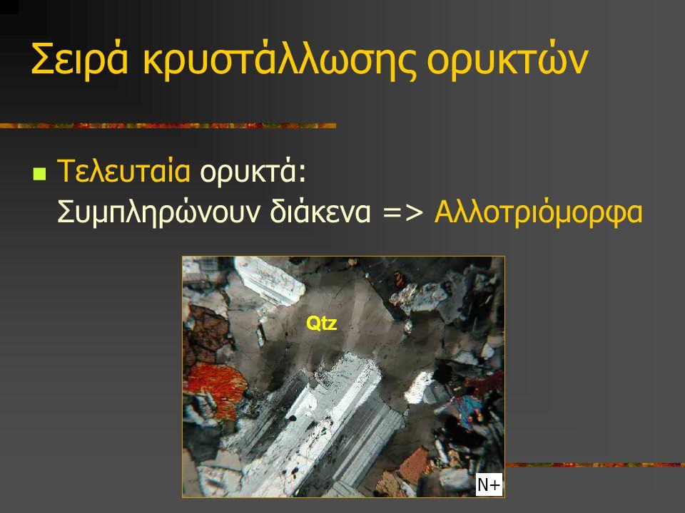 Σειρά κρυστάλλωσης ορυκτών Τελευταία ορυκτά: Συμπληρώνουν διάκενα => Αλλοτριόμορφα Ν+ Qtz