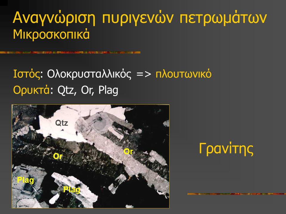 Ιστός: Ολοκρυσταλλικός => πλουτωνικό Αναγνώριση πυριγενών πετρωμάτων Μικροσκοπικά Γρανίτης Qtz Or Plag Ορυκτά: Qtz, Or, Plag