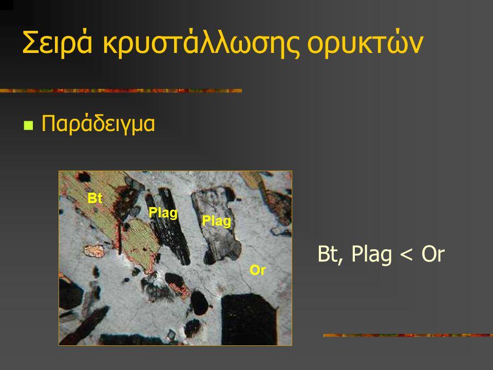 Σειρά κρυστάλλωσης ορυκτών Bt Παράδειγμα Plag Or Bt, Plag < Or