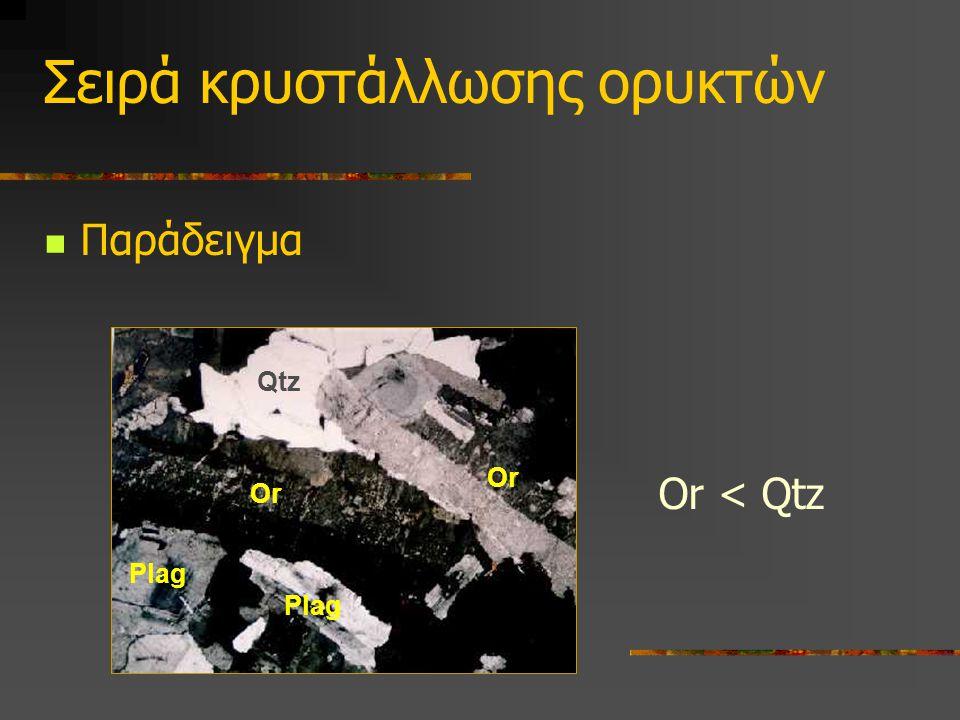 Σειρά κρυστάλλωσης ορυκτών Παράδειγμα Or < Qtz Qtz Or Plag