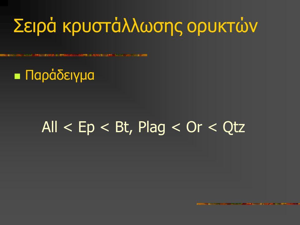 Σειρά κρυστάλλωσης ορυκτών Παράδειγμα All < Ep < Bt, Plag < Or < Qtz