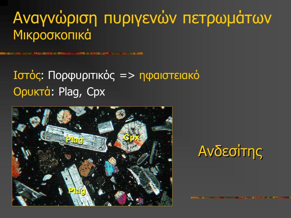 Ιστός: Πορφυριτικός => ηφαιστειακό Ανδεσίτης Cpx Plag Αναγνώριση πυριγενών πετρωμάτων Μικροσκοπικά Ορυκτά: Plag, Cpx