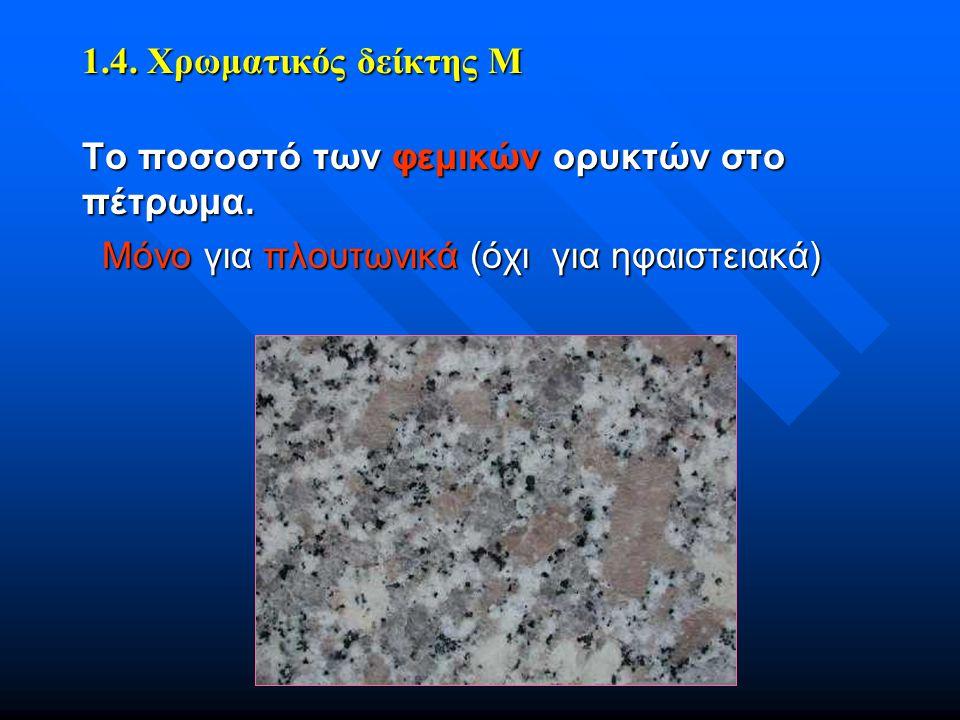 Το ποσοστό των φεμικών ορυκτών στο πέτρωμα. Μόνο για πλουτωνικά (όχι για ηφαιστειακά) 1.4. Χρωματικός δείκτης Μ