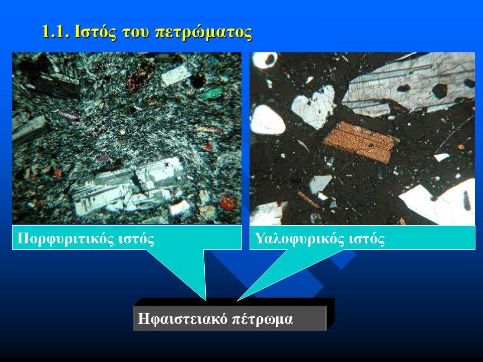 1.1. Ιστός του πετρώματος Ηφαιστειακό πέτρωμα Υαλοφυρικός ιστόςΠορφυριτικός ιστός