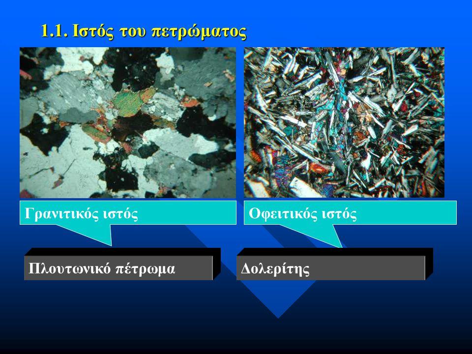 1.1. Ιστός του πετρώματος Γρανιτικός ιστόςΟφειτικός ιστός ΔολερίτηςΠλουτωνικό πέτρωμα