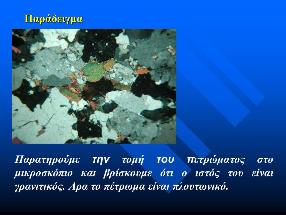 Παράδειγμα Παρατηρούμε την τομή του π ετρώματος στο μικροσκόπιο και βρίσκουμε ότι ο ιστός του είναι γρανιτικός. Αρα το πέτρωμα είναι πλουτωνικό.