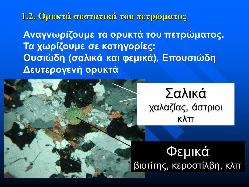 1.2. Ορυκτά συστατικά του πετρώματος Αναγνωρίζουμε τα ορυκτά του πετρώματος. Τα χωρίζουμε σε κατηγορίες: Oυσιώδη (σαλικά και φεμικά), Επουσιώδη Δευτερ
