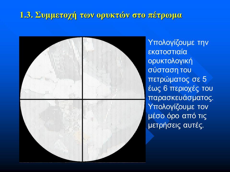 1.3. Συμμετοχή των ορυκτών στο πέτρωμα Υπολογίζουμε την εκατοστιαία ορυκτολογική σύσταση του πετρώματος σε 5 έως 6 περιοχές του παρασκευάσματος. Υπολο