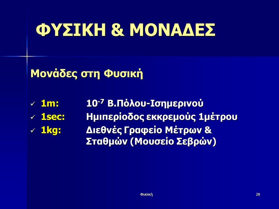 Φυσική20 ΦΥΣΙΚΗ & ΜΟΝΑΔΕΣ Μονάδες στη Φυσική 1m:10 -7 Β.Πόλου-Ισημερινού 1m:10 -7 Β.Πόλου-Ισημερινού 1sec:Ημιπερίοδος εκκρεμούς 1μέτρου 1sec:Ημιπερίοδ
