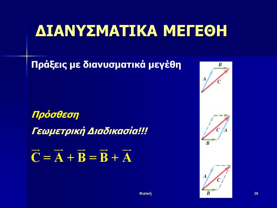 Φυσική30 ΔΙΑΝΥΣΜΑΤΙΚΑ ΜΕΓΕΘΗ Πράξεις με διανυσματικά μεγέθη Πρόσθεση Γεωμετρική Διαδικασία!!!