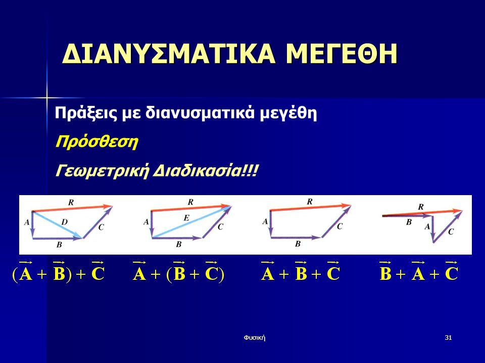 Φυσική31 ΔΙΑΝΥΣΜΑΤΙΚΑ ΜΕΓΕΘΗ Πράξεις με διανυσματικά μεγέθη Πρόσθεση Γεωμετρική Διαδικασία!!!