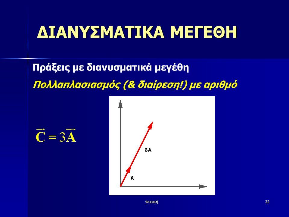 Φυσική32 ΔΙΑΝΥΣΜΑΤΙΚΑ ΜΕΓΕΘΗ Πράξεις με διανυσματικά μεγέθη Πολλαπλασιασμός (& διαίρεση!) με αριθμό
