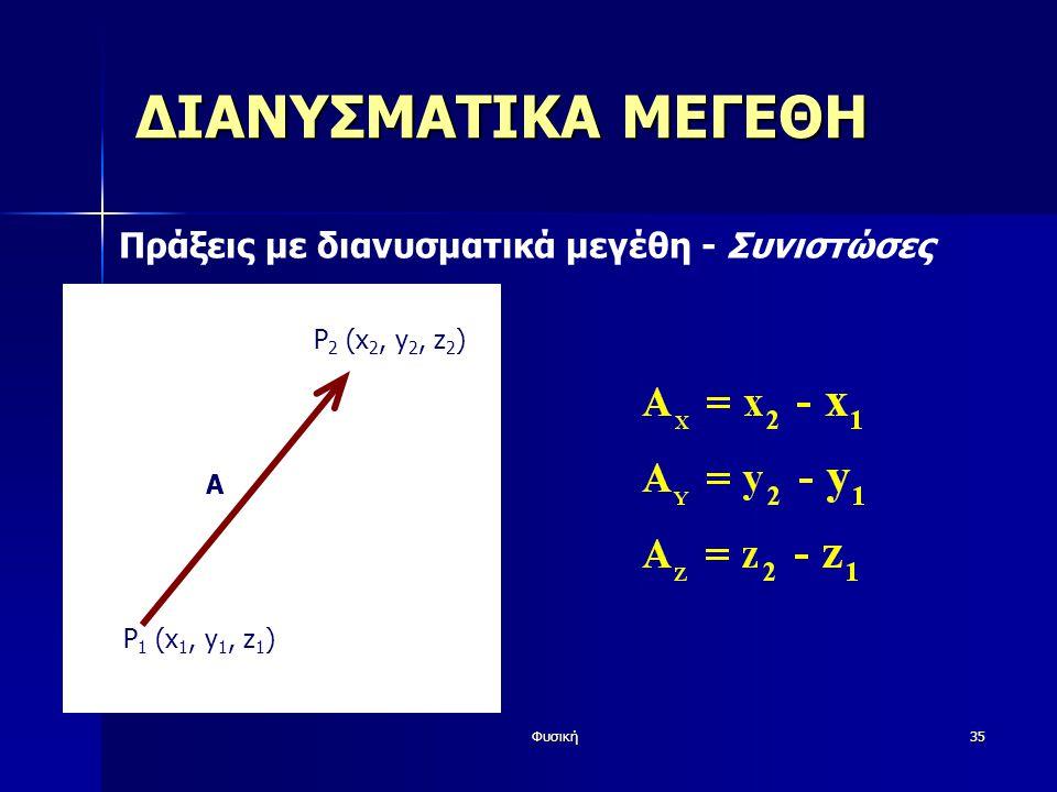 Φυσική35 ΔΙΑΝΥΣΜΑΤΙΚΑ ΜΕΓΕΘΗ Πράξεις με διανυσματικά μεγέθη - Συνιστώσες A P 1 (x 1, y 1, z 1 ) P 2 (x 2, y 2, z 2 )