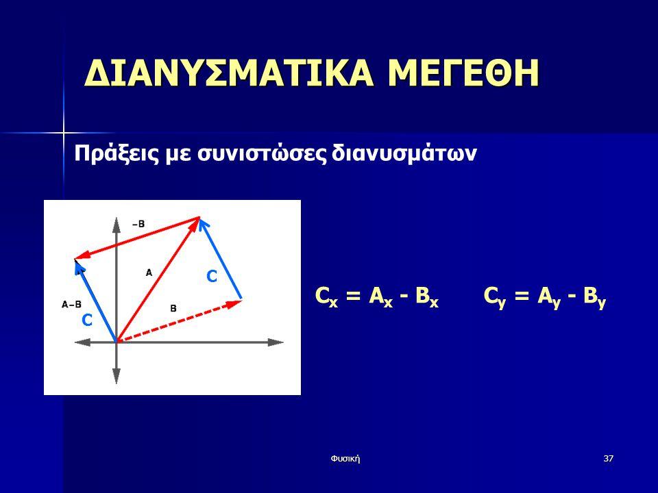Φυσική37 ΔΙΑΝΥΣΜΑΤΙΚΑ ΜΕΓΕΘΗ Πράξεις με συνιστώσες διανυσμάτων C x = A x - B x C y = A y - B y CC