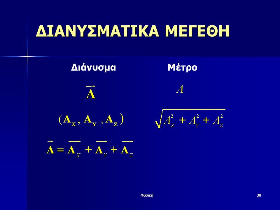 Φυσική38 ΔΙΑΝΥΣΜΑΤΙΚΑ ΜΕΓΕΘΗ Διάνυσμα Μέτρο