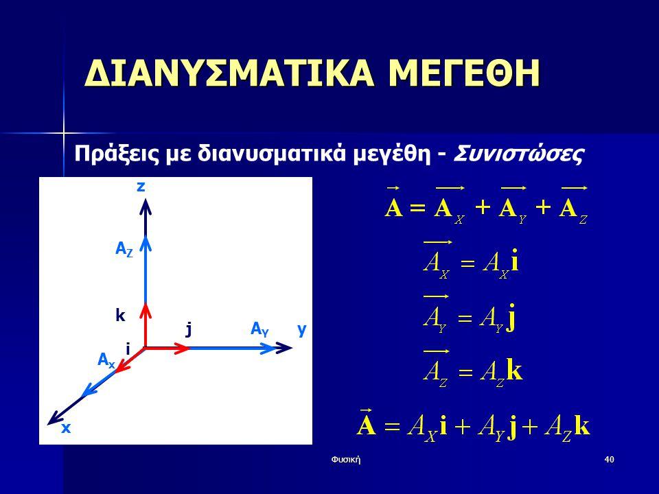 Φυσική40 ΔΙΑΝΥΣΜΑΤΙΚΑ ΜΕΓΕΘΗ Πράξεις με διανυσματικά μεγέθη - Συνιστώσες y z AYAY AxAx i j AZAZ k x