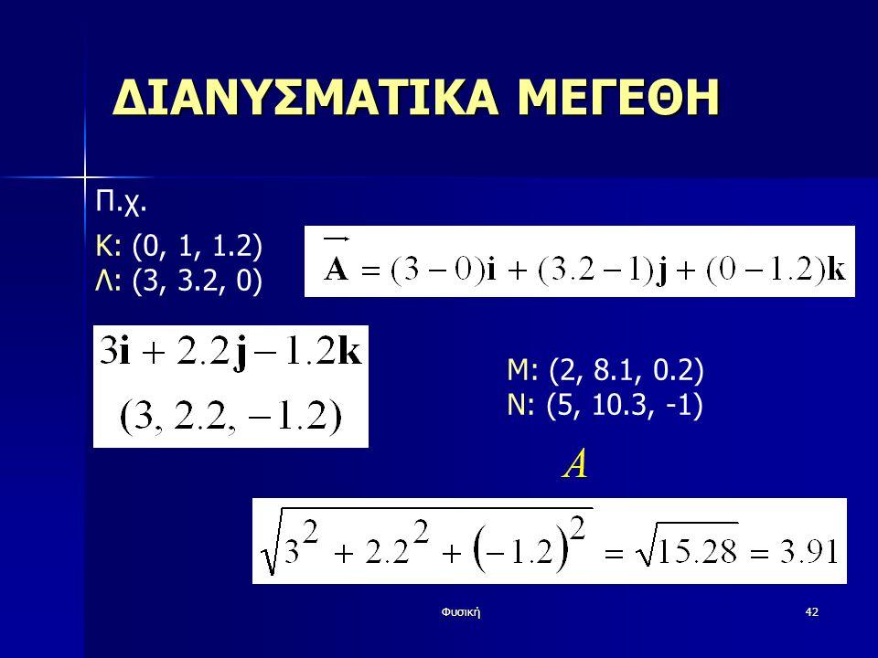 Φυσική42 ΔΙΑΝΥΣΜΑΤΙΚΑ ΜΕΓΕΘΗ Π.χ. K: (0, 1, 1.2) Λ: (3, 3.2, 0) Μ: (2, 8.1, 0.2) Ν: (5, 10.3, -1)