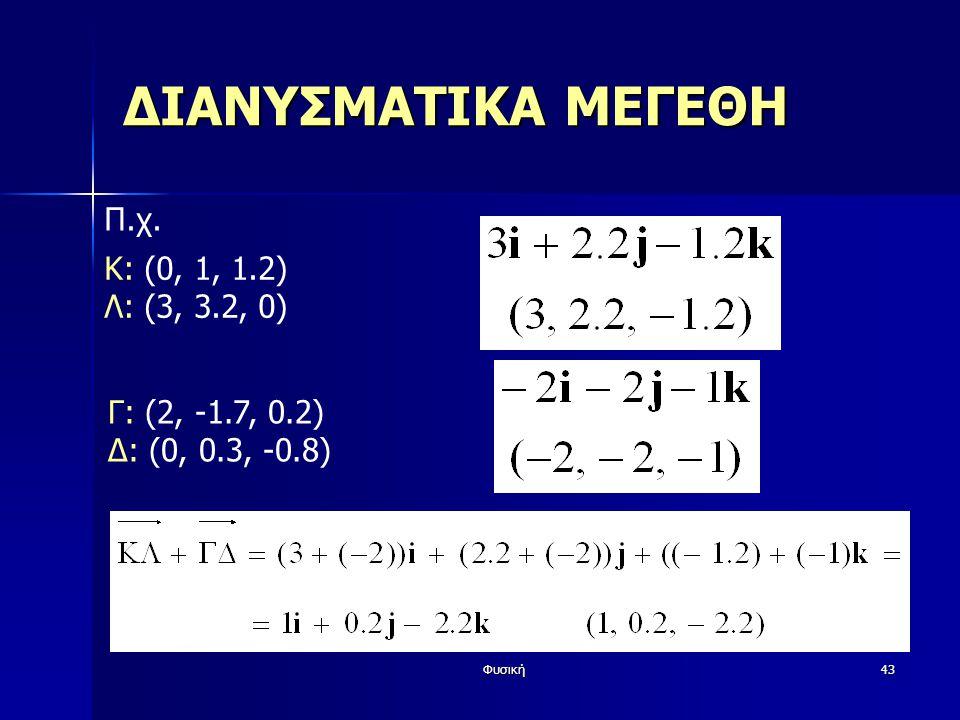 Φυσική43 ΔΙΑΝΥΣΜΑΤΙΚΑ ΜΕΓΕΘΗ Π.χ. K: (0, 1, 1.2) Λ: (3, 3.2, 0) Γ: (2, -1.7, 0.2) Δ: (0, 0.3, -0.8)