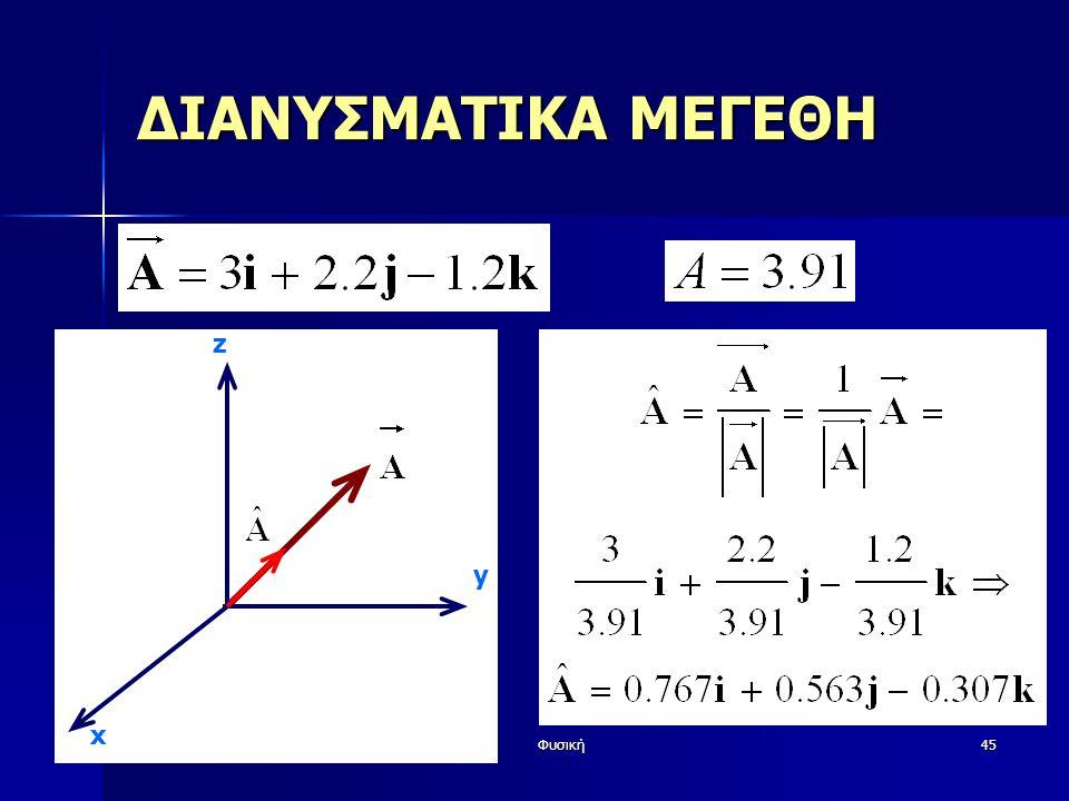 Φυσική45 ΔΙΑΝΥΣΜΑΤΙΚΑ ΜΕΓΕΘΗ y z x
