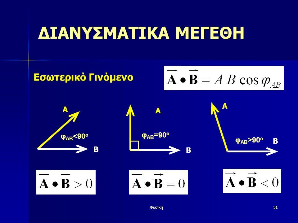 Φυσική51 ΔΙΑΝΥΣΜΑΤΙΚΑ ΜΕΓΕΘΗ Εσωτερικό Γινόμενο A φ AB <90 o Β A φ AB =90 o Β A Β φ AB >90 o