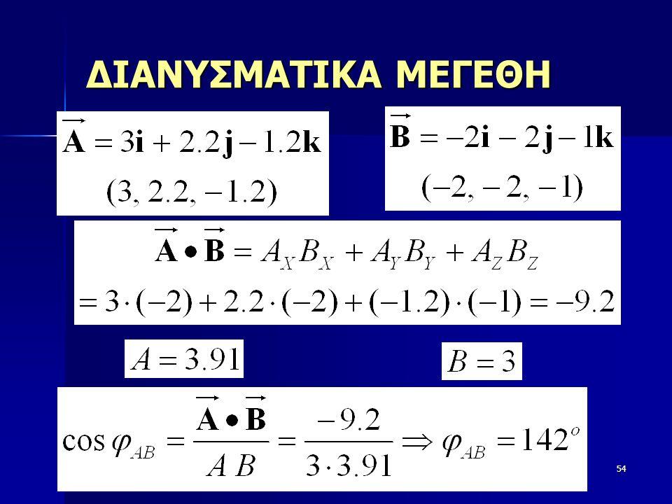 Φυσική54 ΔΙΑΝΥΣΜΑΤΙΚΑ ΜΕΓΕΘΗ