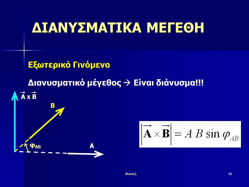 Φυσική56 ΔΙΑΝΥΣΜΑΤΙΚΑ ΜΕΓΕΘΗ Εξωτερικό Γινόμενο Διανυσματικό μέγεθος  Είναι διάνυσμα!!! Β Α φ AB A X Β
