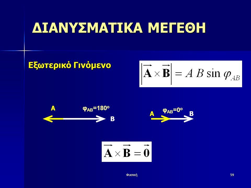 Φυσική59 ΔΙΑΝΥΣΜΑΤΙΚΑ ΜΕΓΕΘΗ Εξωτερικό Γινόμενο A φ AB =180 o Β AΒ φ AB =0 o