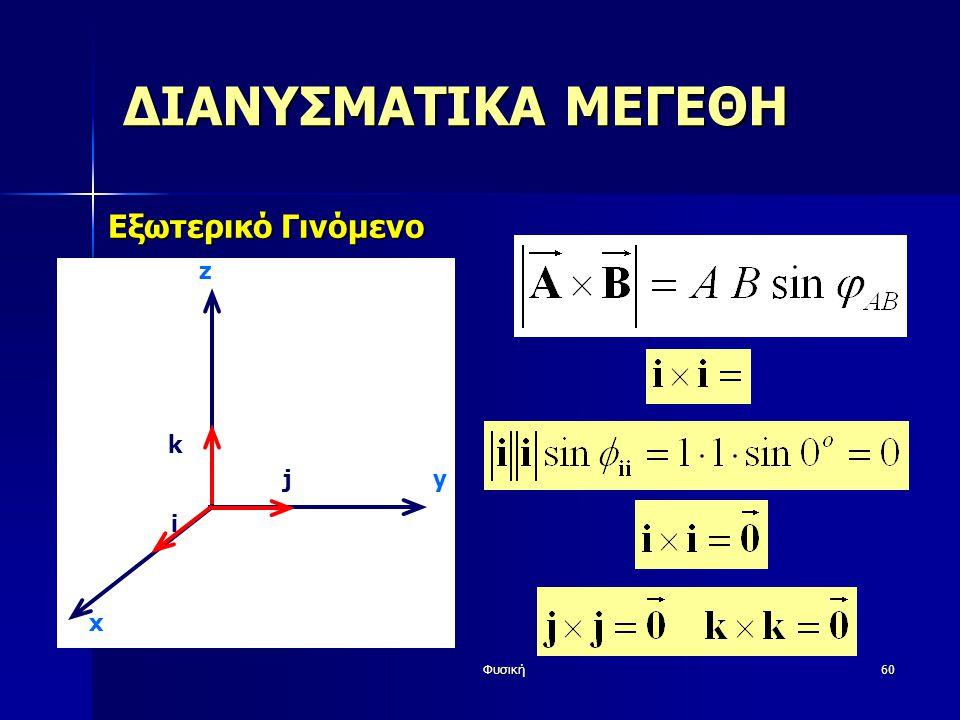Φυσική60 ΔΙΑΝΥΣΜΑΤΙΚΑ ΜΕΓΕΘΗ Εξωτερικό Γινόμενο y z i j k x